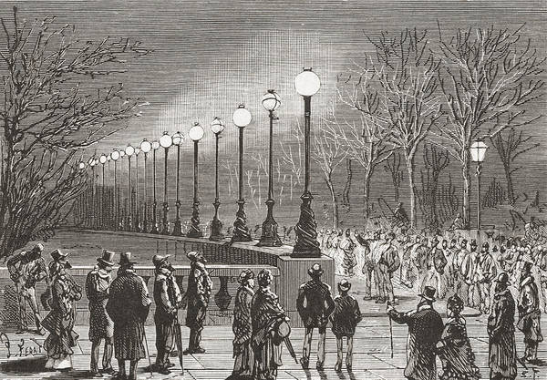 Wall Art - Drawing - Crowds Admiring The Electric Lights by Vintage Design Pics