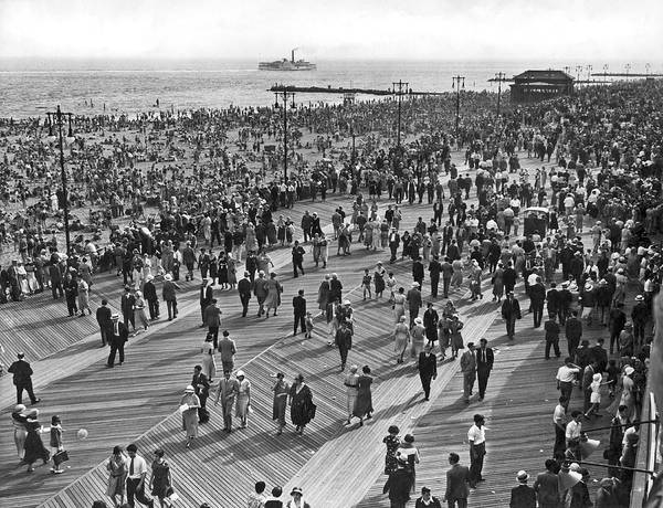 Photograph - Crowds At Coney Island by Underwood & Underwood