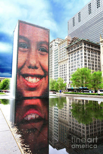 Photograph - Crown Fountain Chicago by John Rizzuto