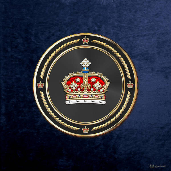 Regal Digital Art - Crown Of Scotland Over Blue Velvet by Serge Averbukh