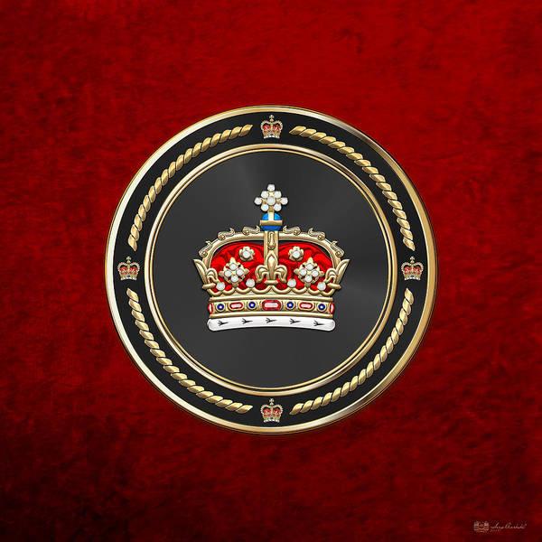 Digital Art - Crown Of Scotland Over Red Velvet by Serge Averbukh