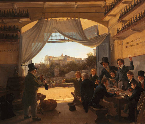 Spanish Wine Painting - Crown Prince Ludwig In The Spanish Wine Tavern In Rome by Franz Ludwig Catel