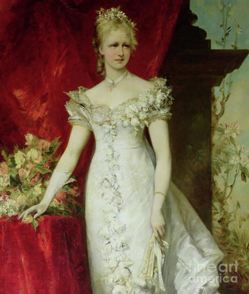 Bridesmaids Painting - Crown Princess Stephanie Of Belgium, Consort To Crown Prince Rudolf Of Austria by Hans Makart