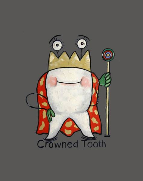 T-shirts Painting - Crowned Tooth T-shirt Anthony Falbo by Anthony Falbo