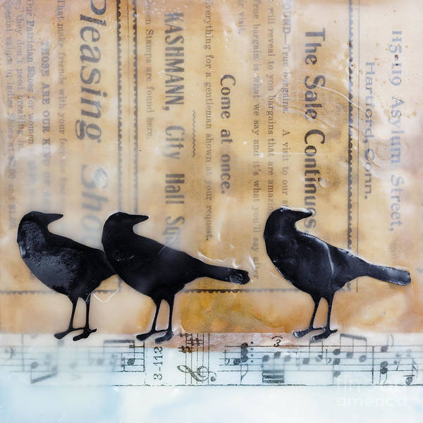 Wall Art - Painting - Crows Encaustic Mixed Media by Edward Fielding