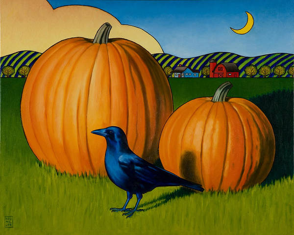 Pumpkins Wall Art - Painting - Crows Harvest by Stacey Neumiller