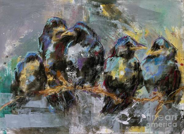 Wall Art - Painting - Crows In A Row by Frances Marino