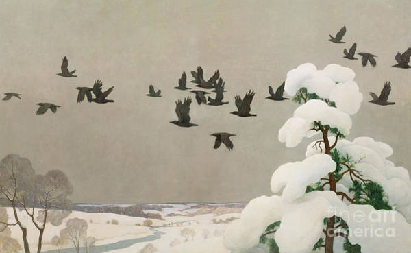 Wall Art - Painting - Crows In Winter by Newell Convers Wyeth