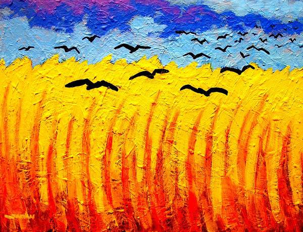Barley Painting - Crows Over Vincent's Field by John  Nolan