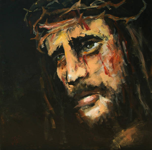 Holy Spirit Painting - Crucified Jesus by Carole Foret