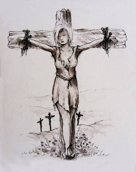 Lamb Of God Wall Art - Drawing - Crucified With Christ by William Russell Nowicki