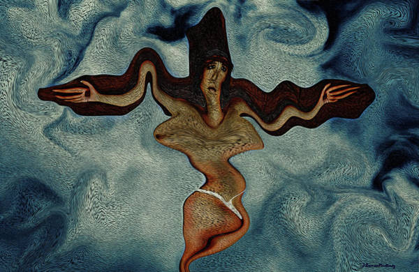 Crucifixion Digital Art - Crucified Woman Surreal I by Ramon Martinez
