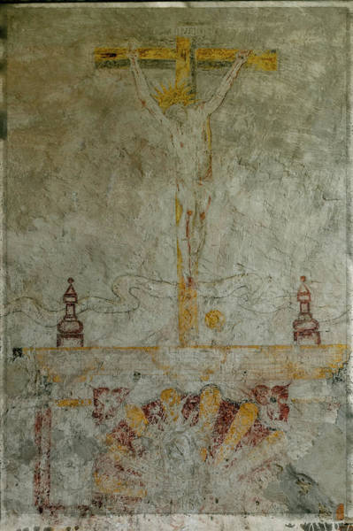 Photograph - Crucifixion On The Mission Wall by Teresa Wilson