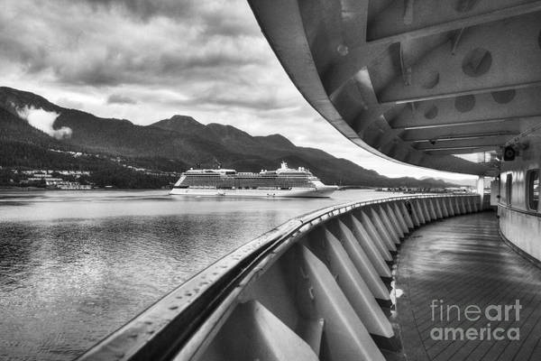 Photograph - Cruise Ships At Juneau Bw by Mel Steinhauer