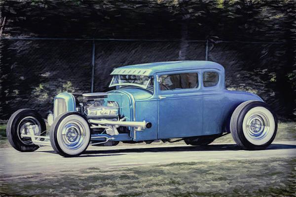 Awesome Show Digital Art - Cruisin' Blue Hot Rod by Timothy Rohman