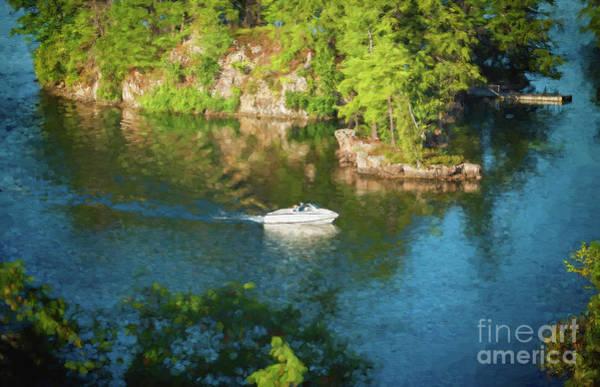 Photograph - Cruising Through Thousand Islands - Painterly by Les Palenik