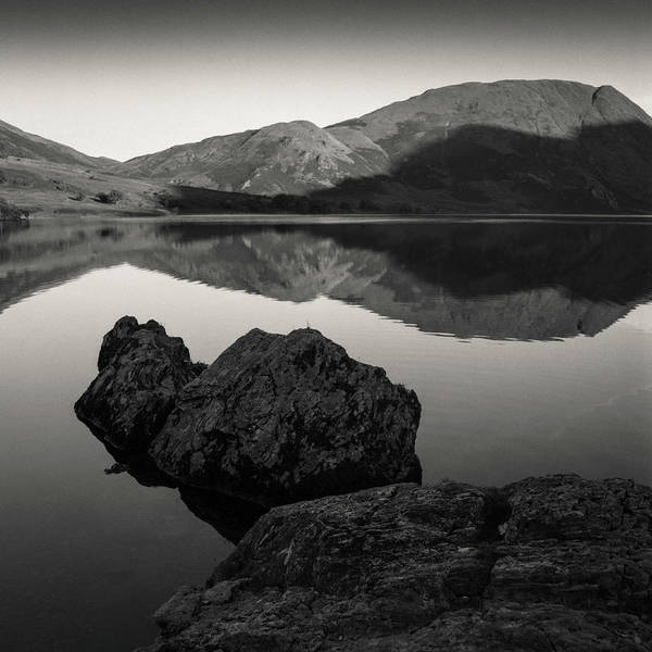 Marshland Photograph - Crummock Water Reflection by Dave Bowman