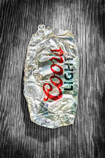 Wall Art - Photograph - Crushed Light Silver Beer Can On Bw Plywood 79 by YoPedro