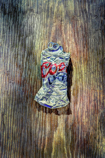 Wall Art - Photograph - Crushed Silver Light Beer Can On Plywood 80 by YoPedro