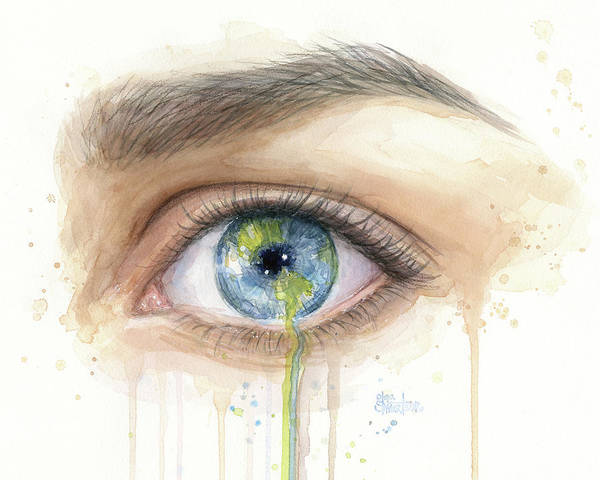 Sad Painting - Earth In The Eye Crying Planet by Olga Shvartsur
