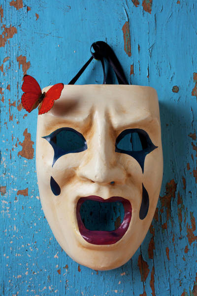 Mask Wall Art - Photograph - Crying Mask And Red Butterfly by Garry Gay