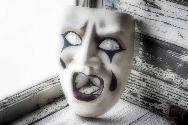 Wall Art - Photograph - Crying Mask In Window by Garry Gay