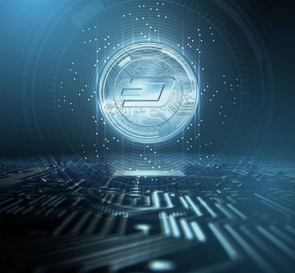 Wall Art - Digital Art - Cryptocurrency Dash And Circuit Board by Allan Swart