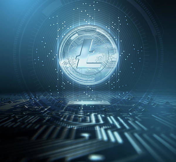 Wall Art - Digital Art - Cryptocurrency Litecoin And Circuit Board by Allan Swart