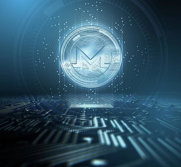 Wall Art - Digital Art - Cryptocurrency Monero And Circuit Board by Allan Swart