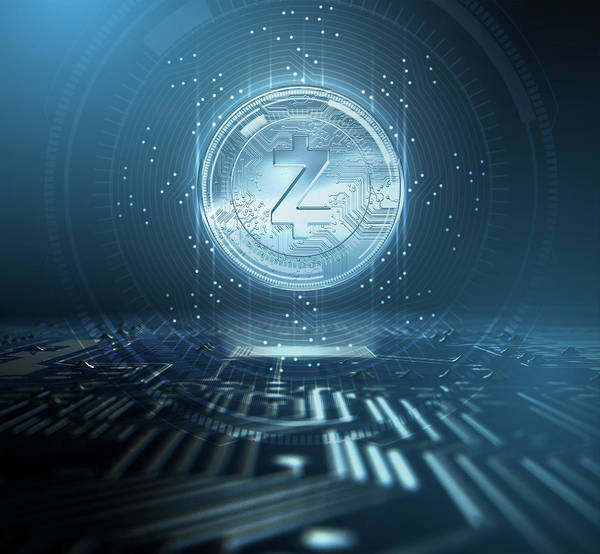 Wall Art - Digital Art - Cryptocurrency Zcash And Circuit Board by Allan Swart