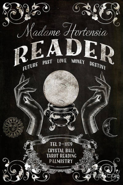 Wall Art - Painting - Crystal Ball Reader Sign by Mindy Sommers