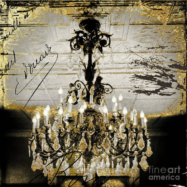 Wall Art - Painting - Crystal Chandelier Gold And Silver by Mindy Sommers