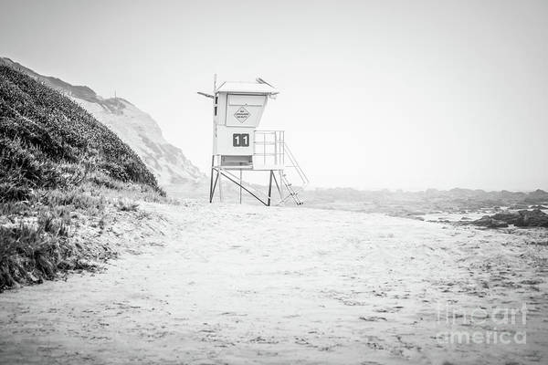 Crystal Coast Photograph - Crystal Cove Lifeguard Tower #11 Black And White Picture by Paul Velgos
