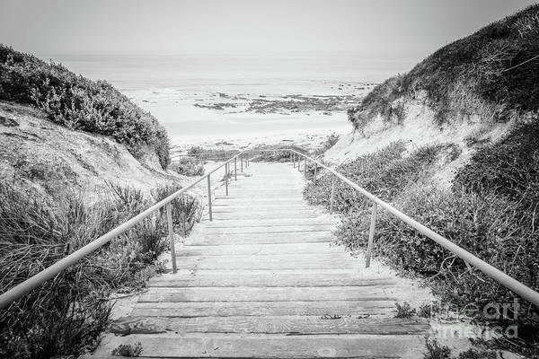Crystal Coast Photograph - Crystal Cove Staircase Black And White Picture by Paul Velgos