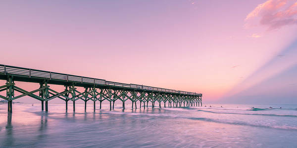 Photograph - Crystal Pier Wrightsville Beach Sunset Panorama by Ranjay Mitra