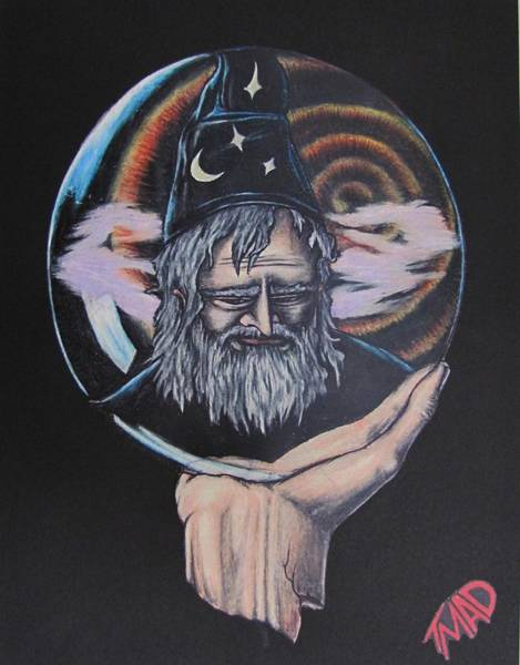 Drawing - Crystal Wizard by Michael  TMAD Finney