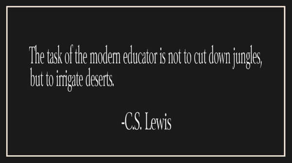 Back-to-school Digital Art - C.s. Lewis Education Quote by Trudy Clementine