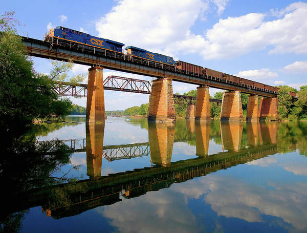 Wall Art - Photograph - Csx Coal Train Over The Congaree Color by Joseph C Hinson