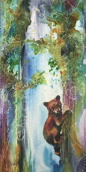 Painting - Cub Bear Climbing by Christy Freeman Stark