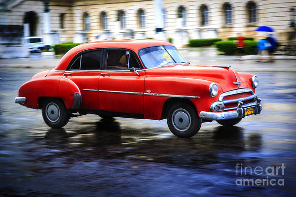 Photograph - Cuba Red Taxi by Craig J Satterlee