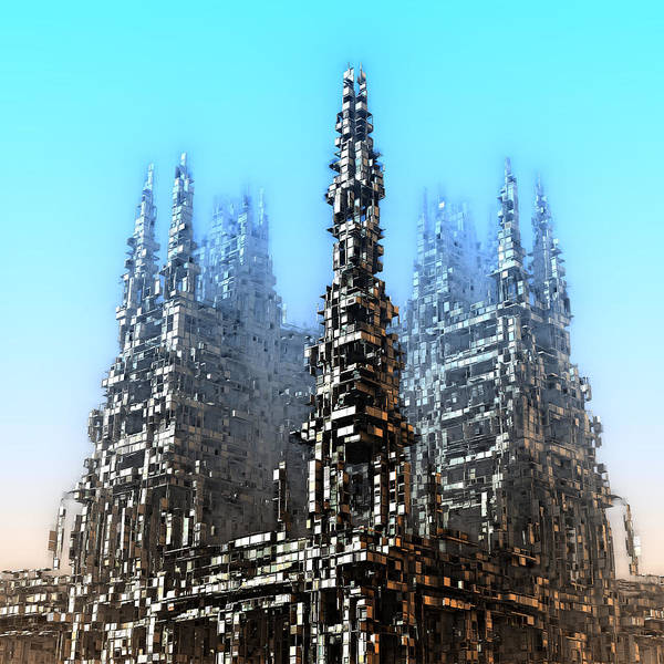 Digital Art - Cube Towers by Hal Tenny