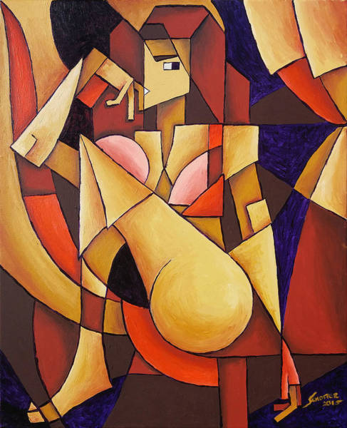 Painting - Cube Woman by Sotuland Art