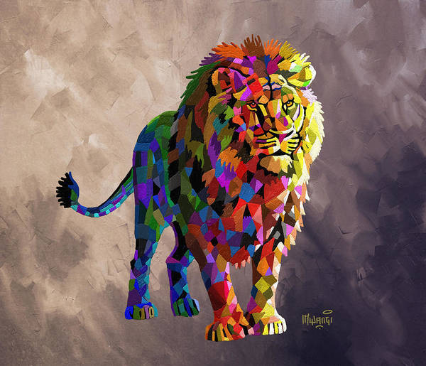 Food Chain Painting - Geometrical Lion King by Anthony Mwangi