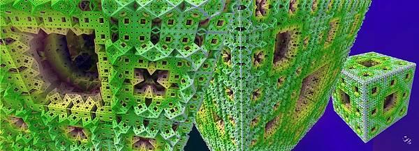 Recursion Wall Art - Digital Art - Cubes In Green by Ron Bissett