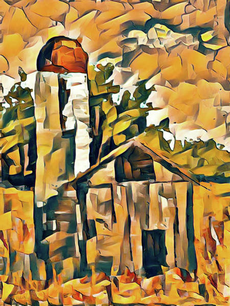 Shed Digital Art - Cubism Silo And Barn by David King