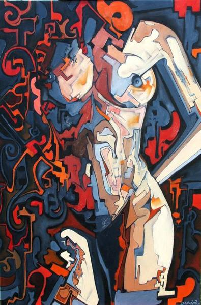 Wall Art - Painting - Cubist Abstract Nude by Darwin Leon