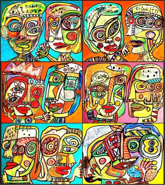 Painting - -cubist Couple Relationship by Sandra Silberzweig
