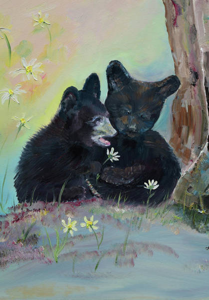 Painting - Cubs - Togetherness- Black Bear by Jan Dappen
