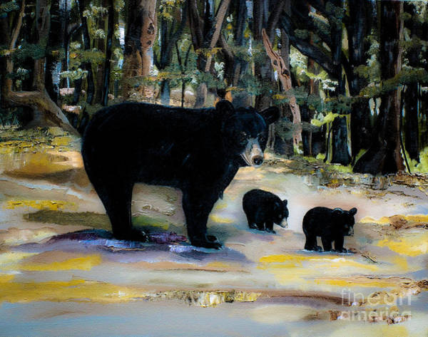 Cubs With Momma Bear - Dreamy Version - Black Bears Art Print