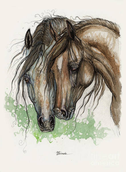Snuggle Painting - Cuddling Horses 2011 by Angel Ciesniarska